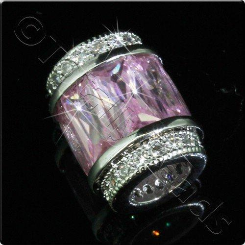 Pave Crystal Bead - Silver Pink Barrel
