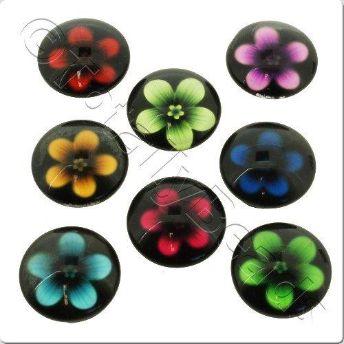 Glass Cabochon 20mm - Flower Mix 8pcs