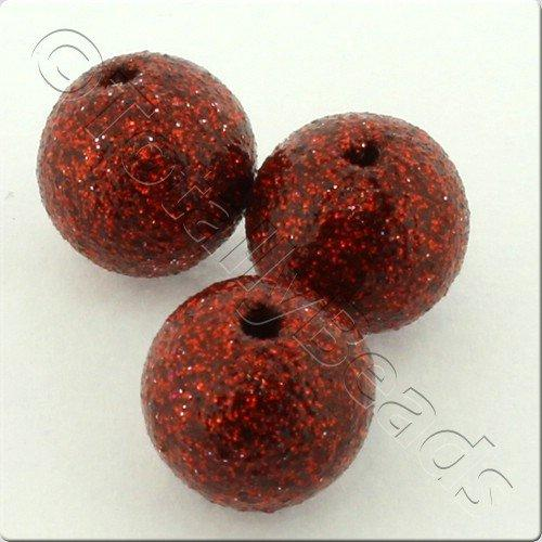 Resin Glitter Round 10mm Bead - Red