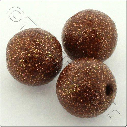 Resin Glitter Round 10mm Bead - Brown