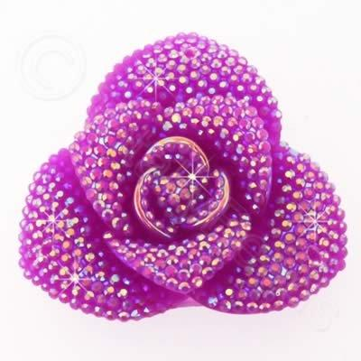 Resin Sparkle 3 Point Flower 40mm - Mauve