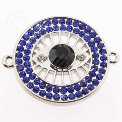 Metal Eye Connector 30mm - Dark Blue Rhinestone