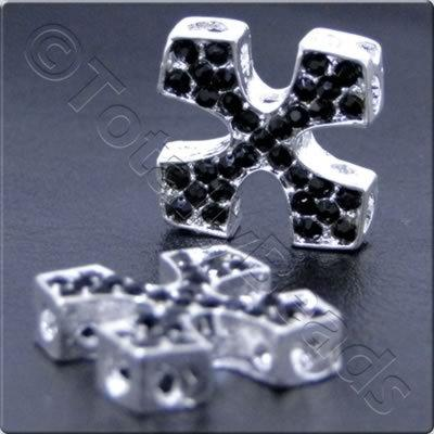 Rhinestone Connector - Square Cross 20mm - Silver and Black