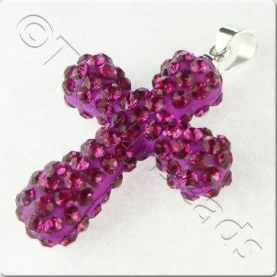 Shamballa Cross Pendant - 32x23mm - Fuchsia