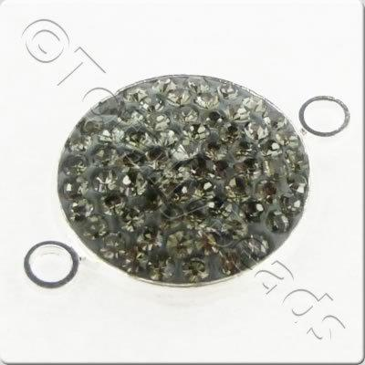 Shamballa Silver Disc 18mm - Black Diamond