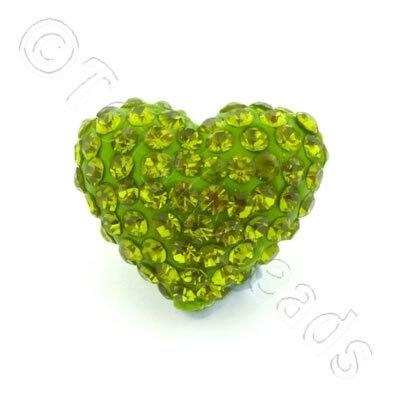 Shamballa Heart Bead - 20mm - Green