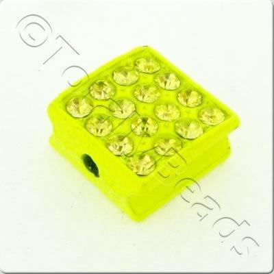 Shamballa Flat Square Bead - 10mm - Neon Green