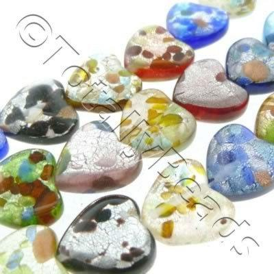 Silver Foil Millefiori - Puff Heart 12mm - Mixed