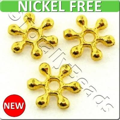 Snowflake Metal Bead 8mm - Gold Plated 70pcs