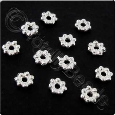 Sterling Silver - Spacer Flower 7petal 4mm