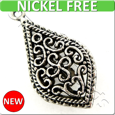 Antique Silver Metal Pendant - Filigree Drop 33mm 3pcs - A16790