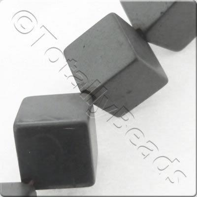 Unpolished Hematite - Diagonal Cube 8mm