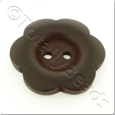 Wooden Flower Button 27mm - Dark Brown