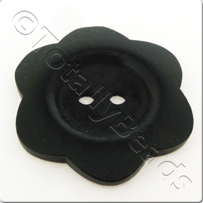 Wooden Flower Button 50mm - Black