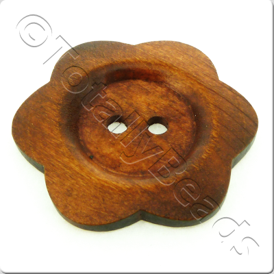Wooden Flower Button 50mm - Brown