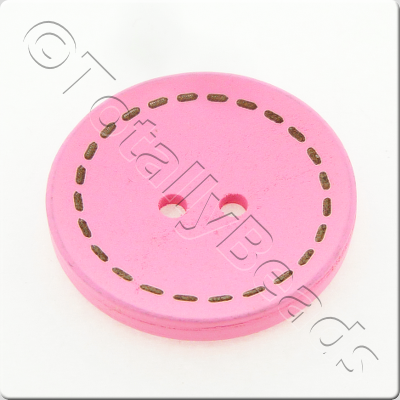 Wooden Button Stitch Effect 30mm - Pink
