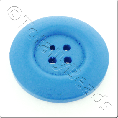 Wooden Button 30mm - Blue