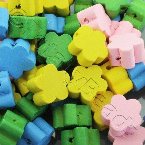 Wooden Beads Mixed Flower 16mm - 30pcs