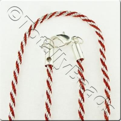 Woven Thread Chain Necklace - Red and Silver