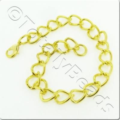 Chain Bracelet - Gold Plate - Oval Twist with Lobster Clasp