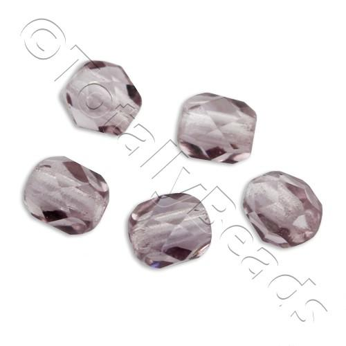 Czech Fire Polished 4mm Faceted - Mid Amethyst - 100pcs