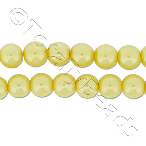 Glass Pearl Round Beads 6mm - Lemon