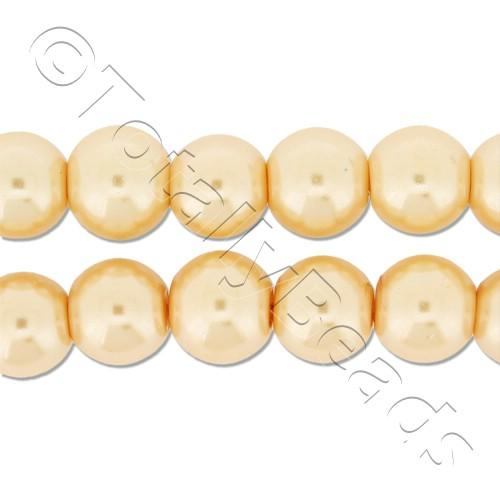 Glass Pearl Round Beads 8mm - Peach