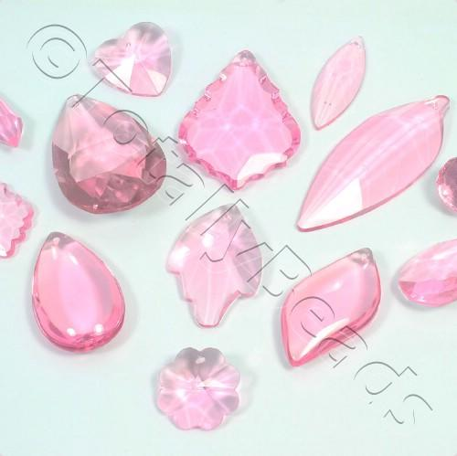 Glass Pendant Pack - Mix of 12 Pendants - Pink