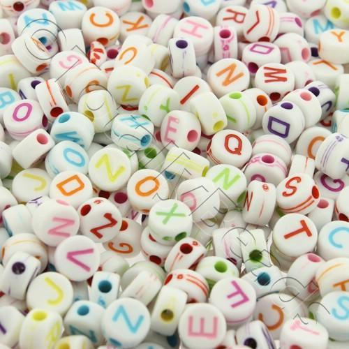 Acrylic Alphabet Beads - Flat Round Coloured 6mm - 400pcs