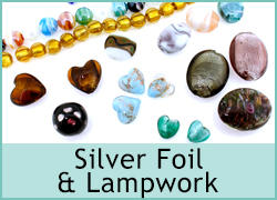 LAMPWORK AND SILVER FOIL BEADS