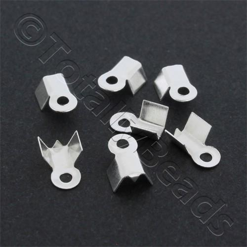 Cord Crimp 4mm Short - Silver Plated
