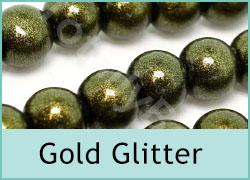 Gold Glitter Glass Beads