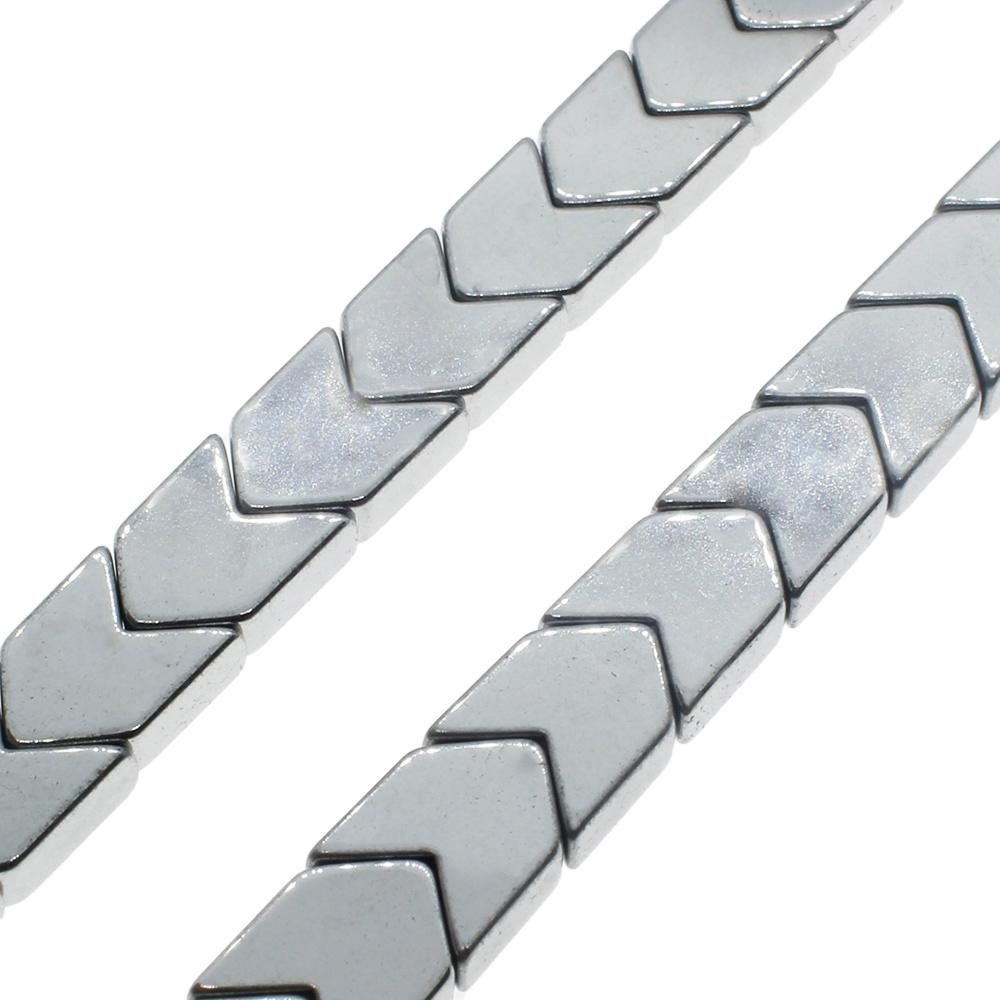 Hematite Chevron 6mm - Silver Plated