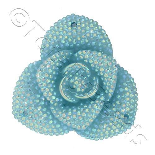 Resin Sparkle 3 Point Flower 40mm - Aqua