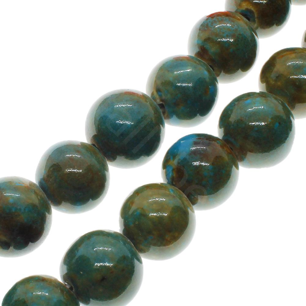 Ceramic Beads - Round 15mm - Green