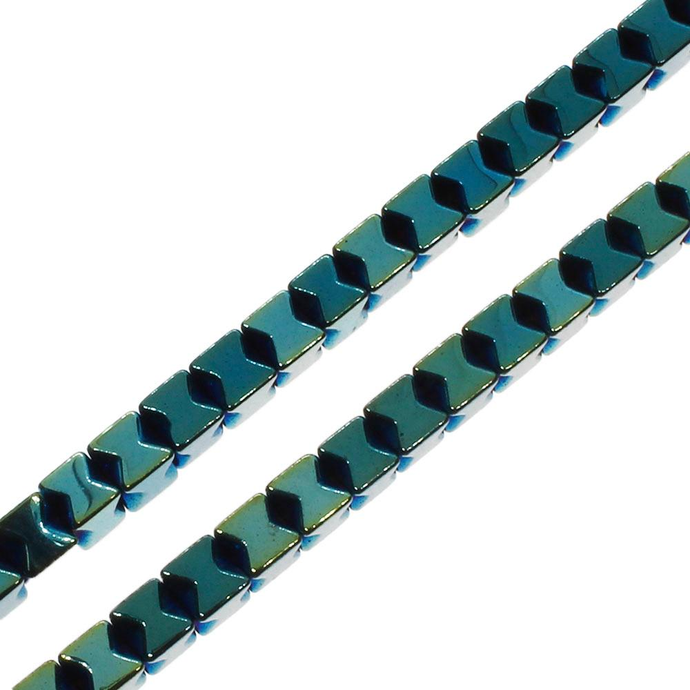 Hematite X Cube 3mm - Green Plated