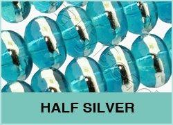 Half Silver Glass Beads