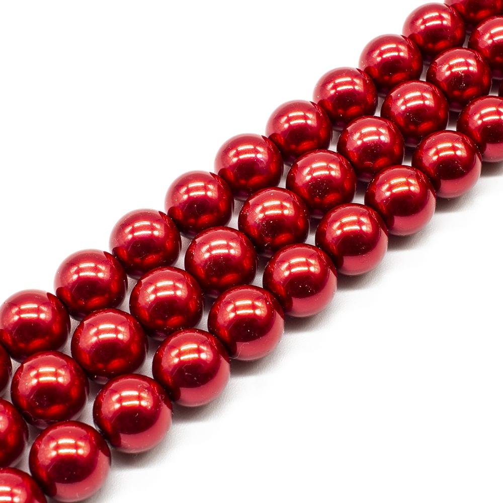 Glass Pearl Round Beads 12mm - Red