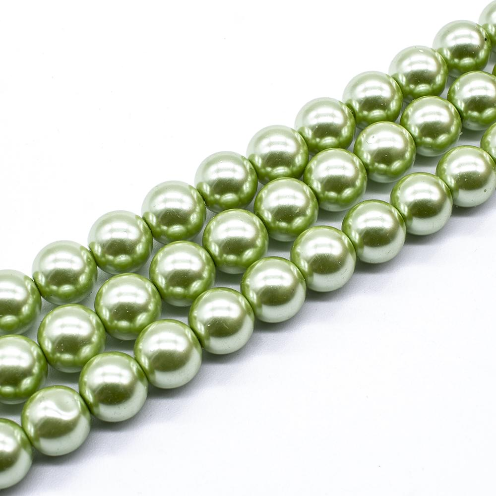 Glass Pearl Round Beads 10mm - Light Olive