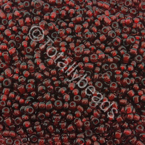 Seed Beads Colour Lined  White  Dark Red - Size 11