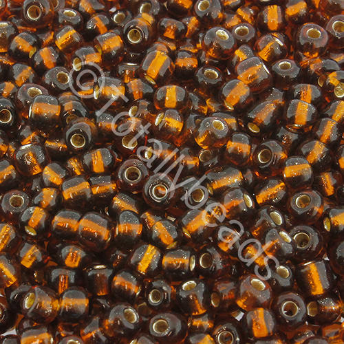 Seed Beads Silver Lined  Brown - Size 6