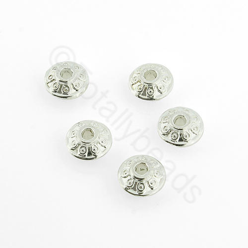 Silver Rondelle - 7x4mm - Flat Cone