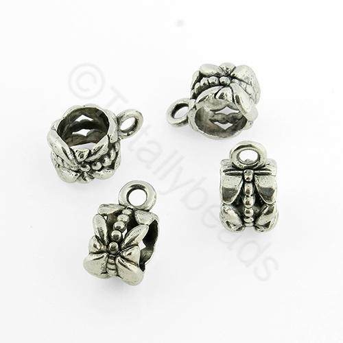 Antique Silver Metal Bail Bead - Flower 8mm 20pcs - K1470