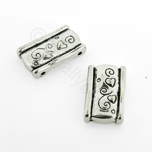 Antique Silver Heart Design Spacer Bar 18mm