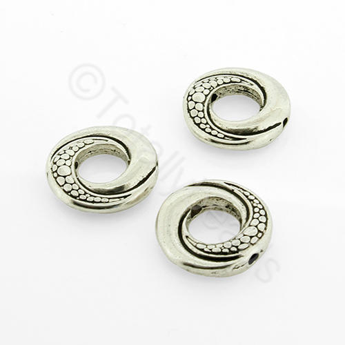 Antique Silver Metal Beadframe - Swirl Round 15x7mm 9pcs - A9946