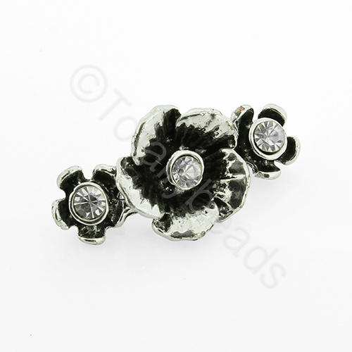 Antique Silver Metal Connector - Cry. Flower 30mm  3pcs - X22093