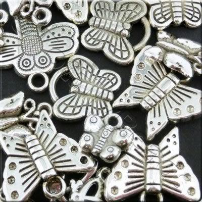 Acrylic Charms - Antique Silver - Butterfly