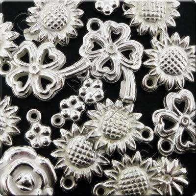 Acrylic Charms - Silver - Flowers 2
