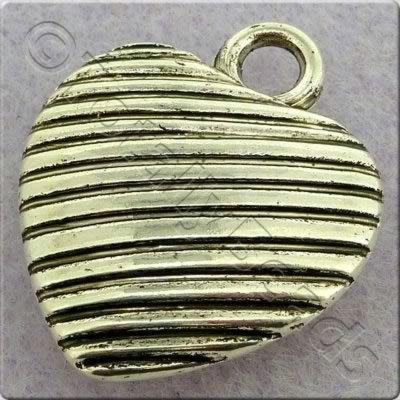 Acrylic Antique Silver Charm - Heart 20x24mm