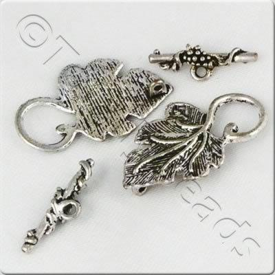 Tibetan Silver Toggle - Leaf 37x23mm